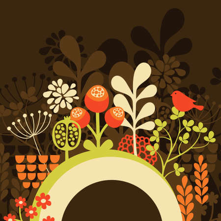 Half round banner with spring nature. Vector illustration. illustration