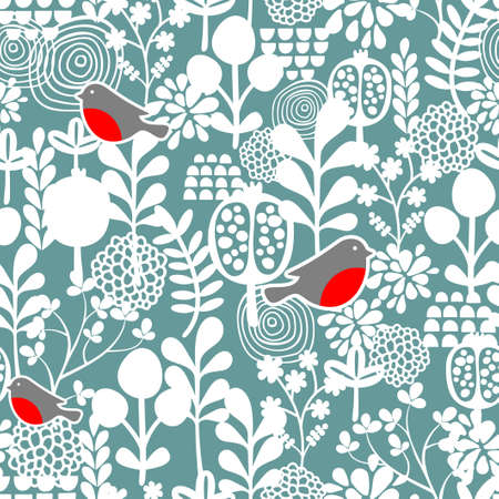 Winter birds and frozen flowers seamless pattern. Vector texture. photo