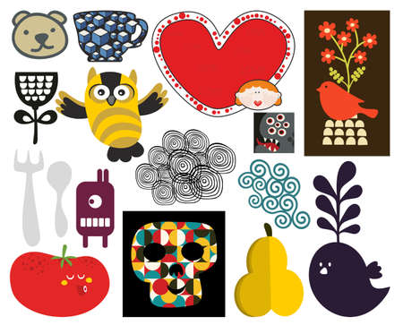 Mix of different vector images and icons. photo