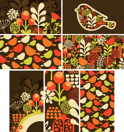 Set of cards with birds and flowers. Vector illustration. illustration