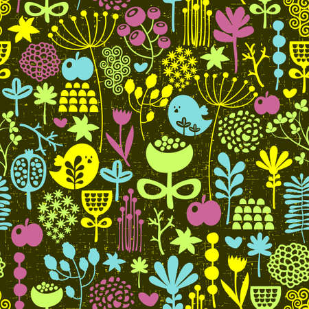 Birds and flowers seamless pattern. Colorful vector texture. photo
