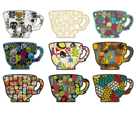 Collection of tea cups with different patterns. photo