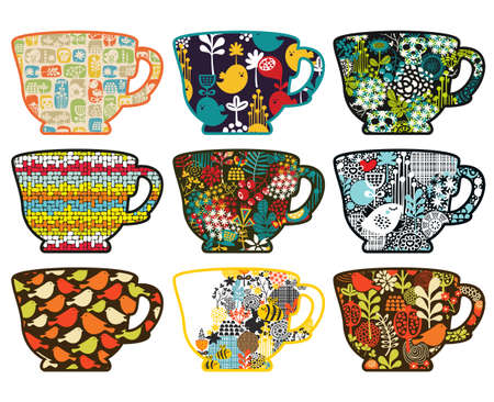 Collection of tea cups with different patterns. Vector illustration. illustration