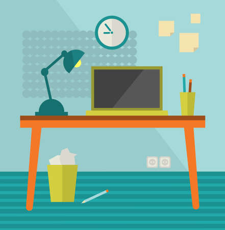 moder: Workplace with moder computer on retro table. Vector illustration.
