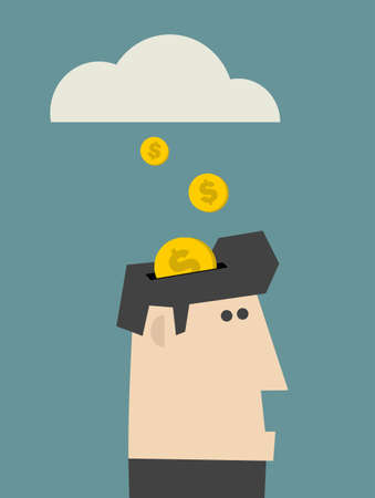 Rain of coins. Vector illustration. illustration