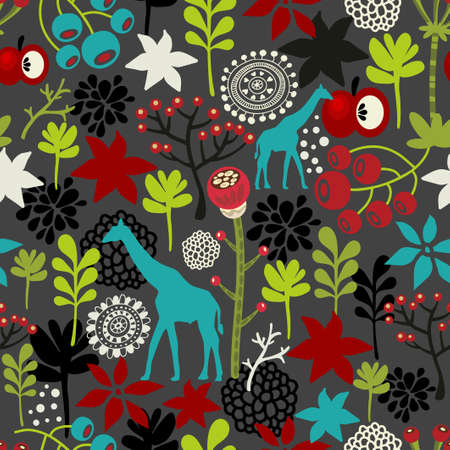 Seamless pattern with giraffe and flowers. Vector background. photo