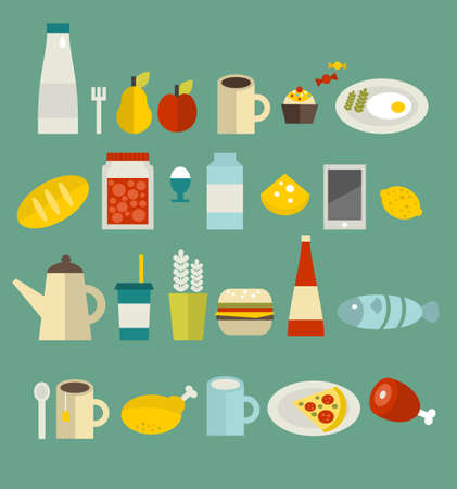 Food icon set. Vector illustration. illustration