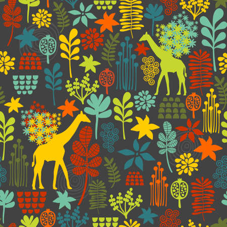 Seamless background with giraffe and flowers. Vector pattern. photo