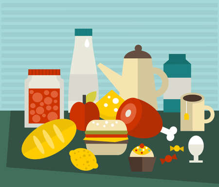 A lot of different food on the table. Vector illustration. illustration