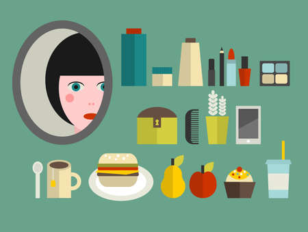Set of cosmetics and food for the girl. Vector illustration. illustration
