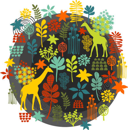 Round label with floral pattern and giraffe baby. Vector illustration. illustration