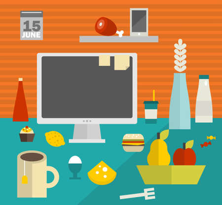 work place: Computer screen on the table. Vector illustration of the work place with a lot of food. Stock Photo
