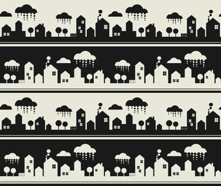 Cartoon city seamless pattern. Vector background with buildings, clouds and trees. photo