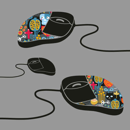 Computer mouse decorated with design print. Vector illustration of fashionable device for PC or notebook. illustration