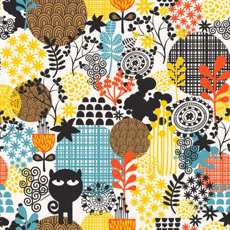 Colorful abstract floral seamless pattern. Crazy black cat with flowers. photo