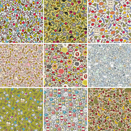 Big set of seamless doodle patterns. Vector backgrounds with cute flowers, animals, faces. photo