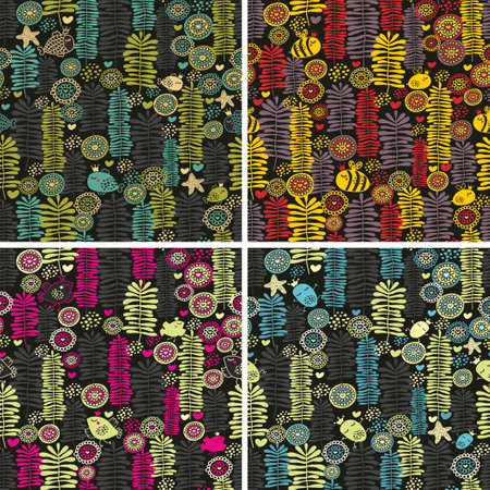 Set of colorful seamless patterns with flowers. photo