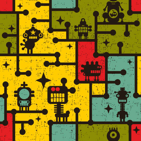 Robot and monsters colorful seamless pattern. photo