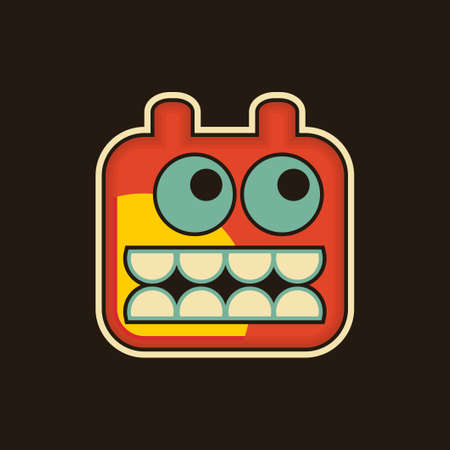 Vintage monster. Cool vector illustration with robot face. illustration