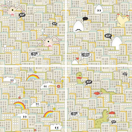 Set of seamless patterns with hungry monsters in the city. Vector repeating backgrounds. photo