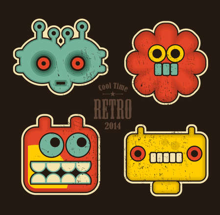 Cartoon robots and monsters faces in color. Vector illustration illustration