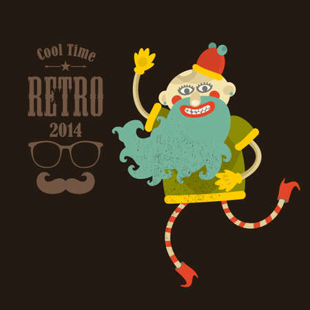 omens: Hipster man. Vector illustration in retro colors.