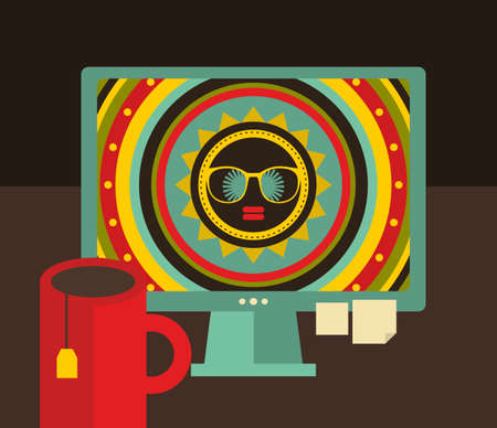 Computer screen in retro colors with colorful desktop. Vector illustration of hipster workplace. Stock Photo