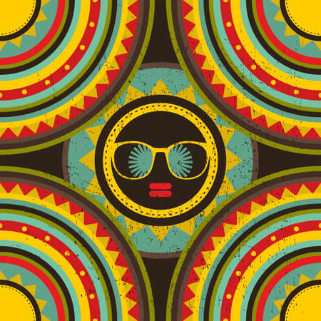 Summer cover with yellow sun and black woman face. Vector colorful background. photo