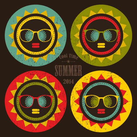 Set of colorful sun labels with woman face in it. Vector hipster illustration. illustration