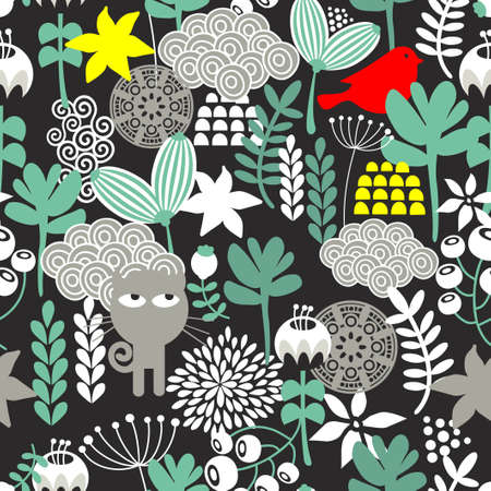 Seamless pattern with black cat hunting small red bird. Vector repeating background. Vector