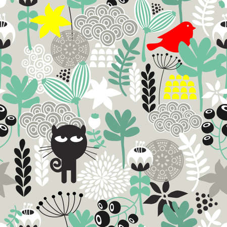Seamless pattern with black cat hunting small red bird. Vector repeating background.