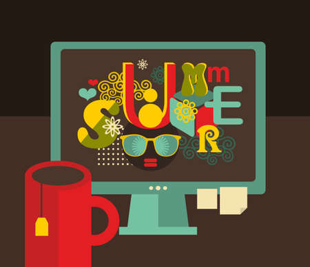 Computer screen with summer label in retro colors. Vector illustration of hipster workplace. Vector
