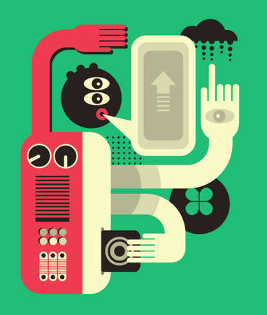 Abstract man. Vector illustration in retro style. Vector