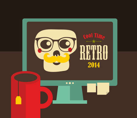 webdesigner: Computer screen in retro colors with colorful skull on the desktop. Vector illustration of hipster workplace.
