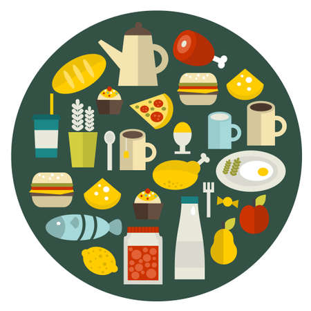 Food round banner. Vector illustration. Vector
