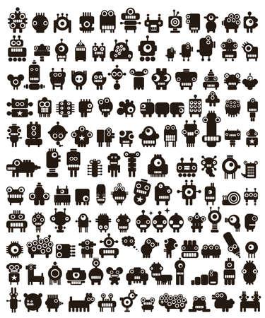 Mega ensemble de petits monstres et des robots. Collection de vecteur de créatures de l'espace.
