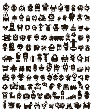 Mega set of small monsters and robots. Vector collection of space creatures. Vector