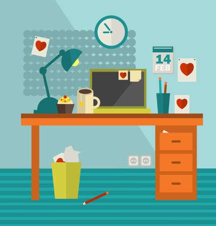 interior designer: Work place of web designer on holiday . Vector illustration of office room interior. Illustration