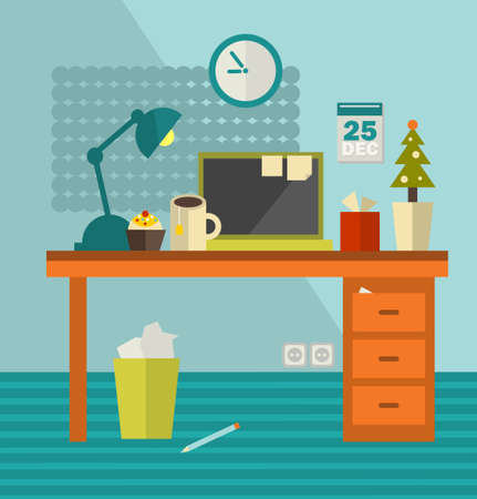 Work place of web designer on holiday . Vector illustration of office room interior. Illustration