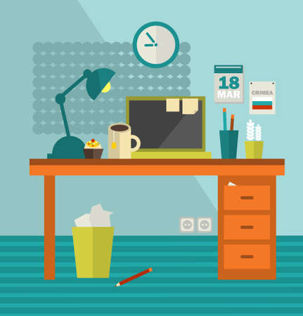 Work place of web designer on holiday . Vector illustration of office room interior. Vector