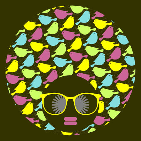 Black head woman with strange pattern on her hair. Vector illustration. Vector