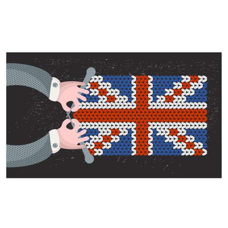 hand made: Hecho a mano de la bandera brit�nica. Ilustraci�n del vector.