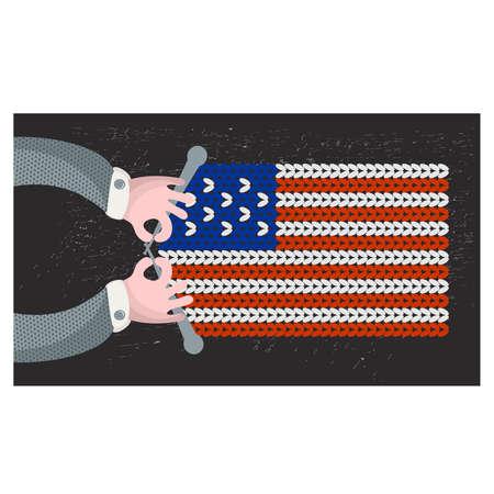 hand made: Hecho a mano la bandera de los EE.UU.. Ilustraci�n del vector.