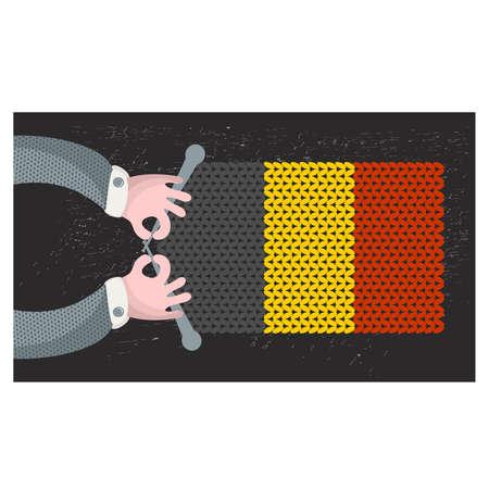 hand made: Hecho a mano la bandera de B�lgica. Ilustraci�n del vector.
