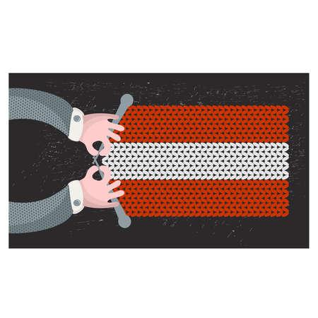 hand made: Hecho a mano la bandera de Austria. Ilustraci�n del vector.