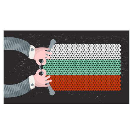hand made: Hecho a mano la bandera de Bulgaria. Ilustraci�n del vector. Vectores