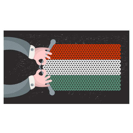hand made: Hand made flag of Hungary. Vector illustration.