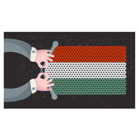 hand made: Hecho a mano la bandera de Hungr�a. Ilustraci�n del vector.