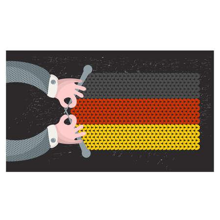 Hand made flag of German. Vector illustration.