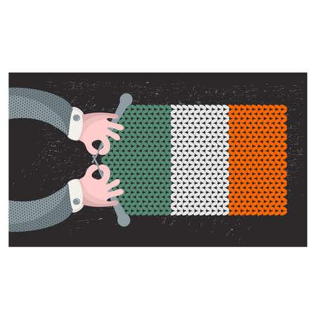 hand made: Hecho a mano la bandera de Irlanda. Ilustraci�n del vector.